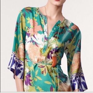 CAbi Poetry floral silk tunic - Size: Small
